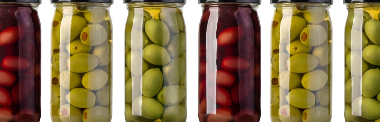 Glass jars with viglia olives