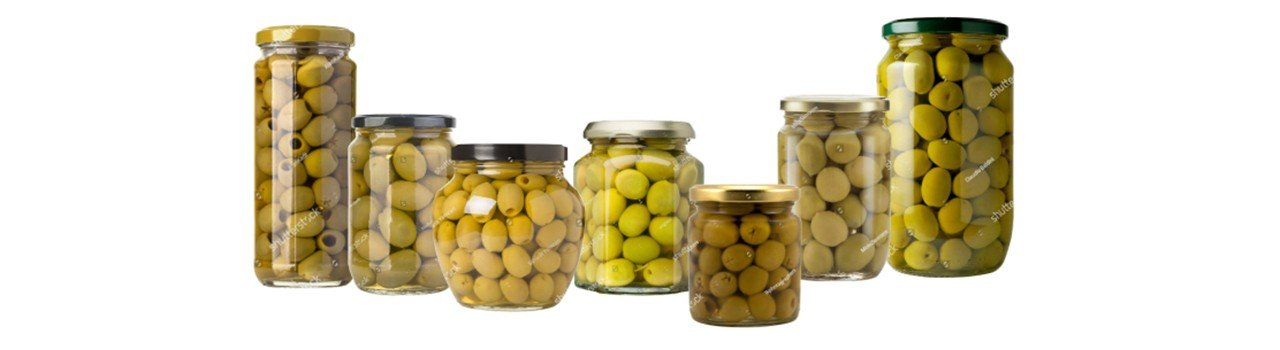 Various glass jars with viglia olives