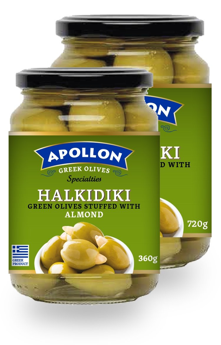 Stuffed Halkidiki Green Olives with Almond Jar 360g/720g